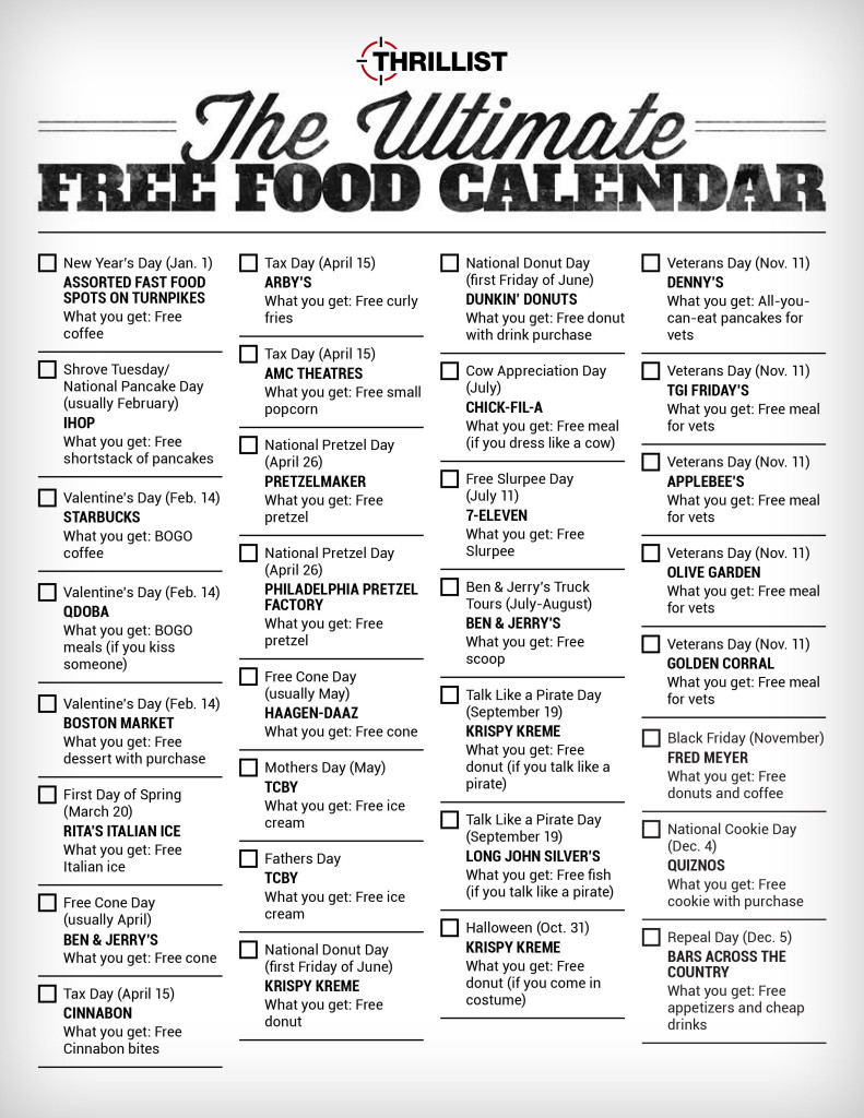 Thrillist food giveaway calendar