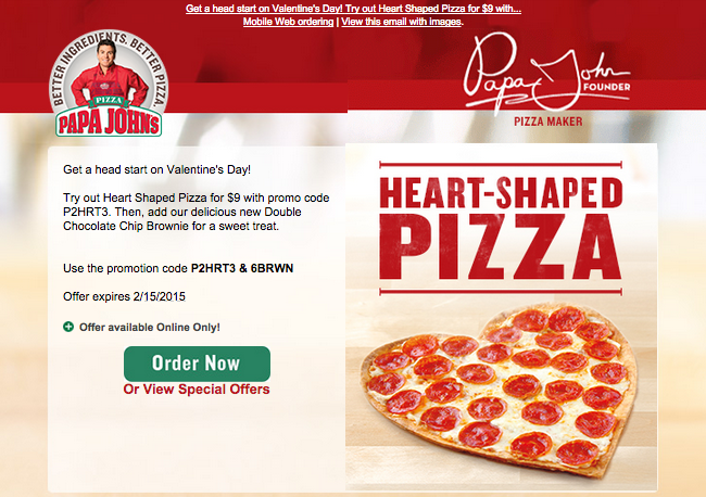 papa johns valentines day offer